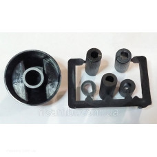 Ручка регулировки для плит черная (5 переходников в комплекте) универсальная